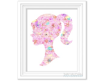 Barbie Art Print Makeup Art Makeup Fanatic Floral Word  Fashion Barbie Poster Illustration Barbie Painting Beauty Room Wall Art (No.398)