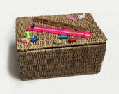 Decorated sewing basket, knitting basket made in Italy, nice gift idea for Mother's Day or grandma, lined string case, sewing topped basket
