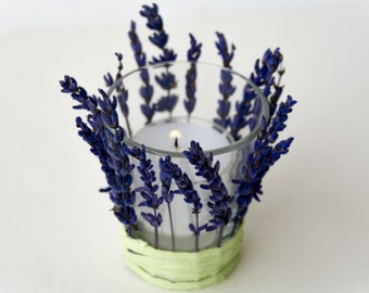 Tiny candle holder with dried lavender, Italian favor, retirement favor, Italian wedding favor, natural candleholder, made in Italy decor