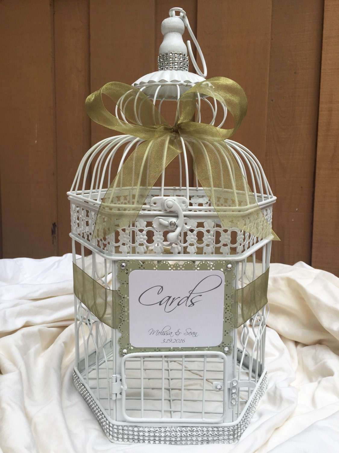 Wedding birdcage card holder wishes wishing box money box for How to decorate a money box