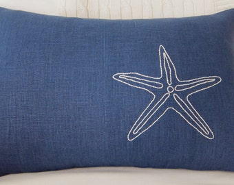 Hand Embroidered White Starfish on Navy Blue 100% Linen 12 x 18 Lumbar Pillow Cover - Beach Decor