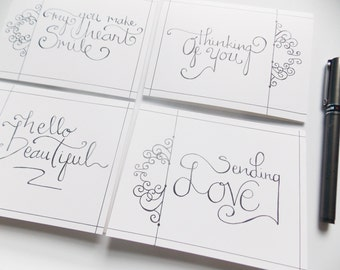 Greeting Card Pack - Thinking Of You Cards - Friendship Cards - Blank Greeting Cards - Greeting Card Set - Just Because Cards - Hello Cards