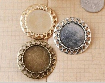 Wholesale 20pcs Handmade Brooch/Pin/Breast Pin Pendant Trays  -25mm Bezel Cabochon Settings - Pendant Tray Blanks