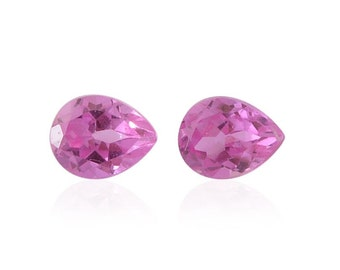 Pink Sapphire Lab Created Synthetic Loose Gemstones Set of 2 Pear Cut 1A Quality 4x3mm TGW 0.40 cts.