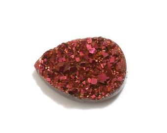 Rose Golden Drusy Quartz Pear Cabochon Loose Gemstone 1A Quality 9x7mm TGW 1.10 cts.