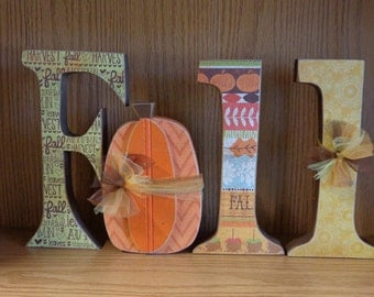 Fall Decor-Fall Decorations-Autumn Decor-Fall Letters-Fall Letter Set with pumpkin