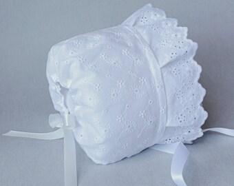 Baptism Baby Bonnet, Christening, Eyelet Bonnet, White Lace Baby Bonnet