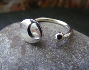 Silver Moon RIng with crescent and silver ball