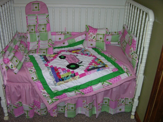 Pink John Deere Tractor Crib Set by CutiePatootieBedding