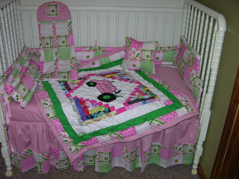 New crib bedding m w pink madras john deere fabric for Pink nursery fabric