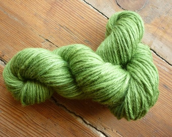 Grass green yarn: Indigo and weld hand dyed 100% pure Blue-faced Leicester DK wool