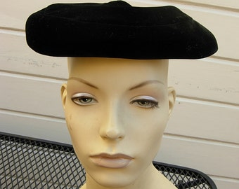 High-End Black Velour 1960s Hat