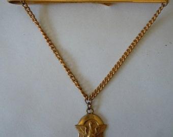 Gold 1950s 200 Club Bowling Pendant Tie Bar