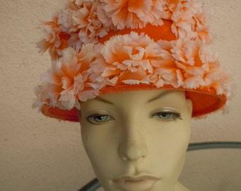 Stunning 1960s Tall Orange Woman's Hat