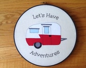 "Custom listing for bethkec1: Red Shasta Trailer Hoop with ""Let's Have Adventures"" Embroidery"