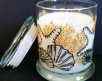Hand Painted AND Handmade Natural Soy Candle 12oz– Sea Shells