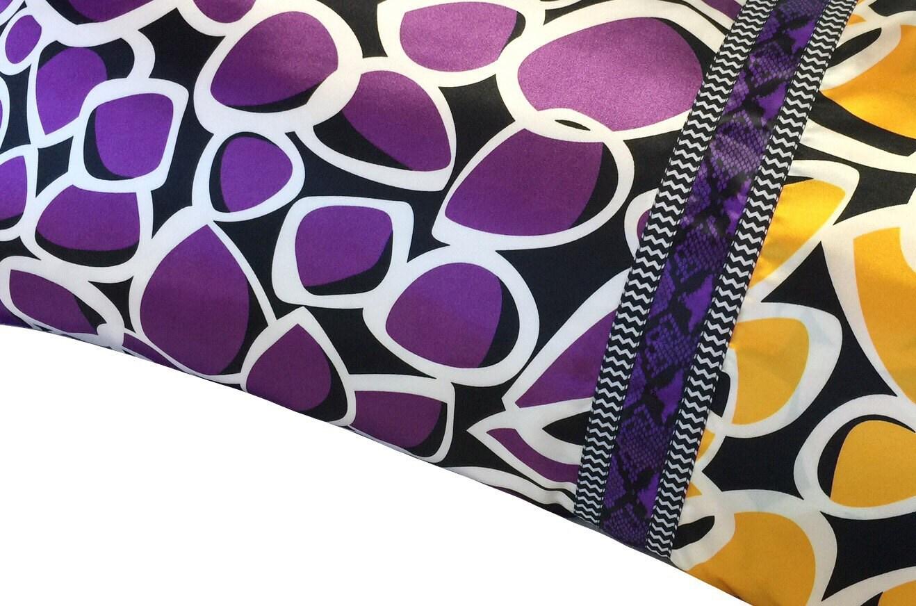 Satin Pillowcase, Mod Geometric, Purple, Gold, Black