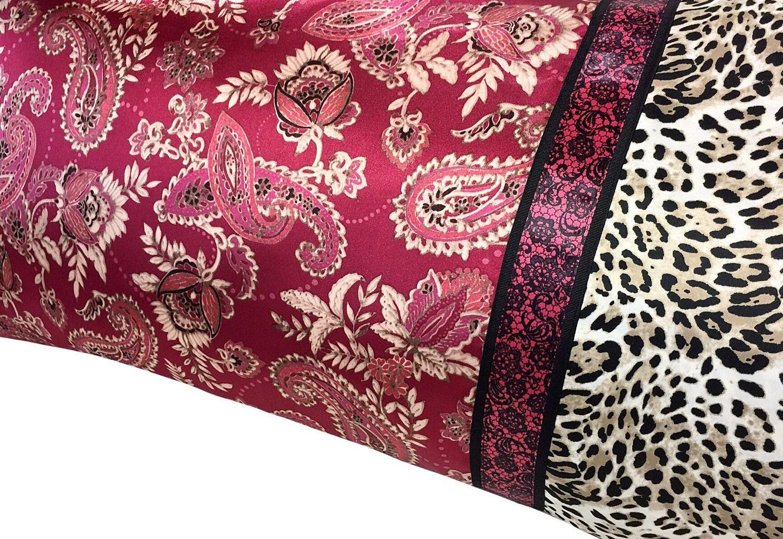 Raspberry Wine Satin Pillowcase Paisley Pillow Case