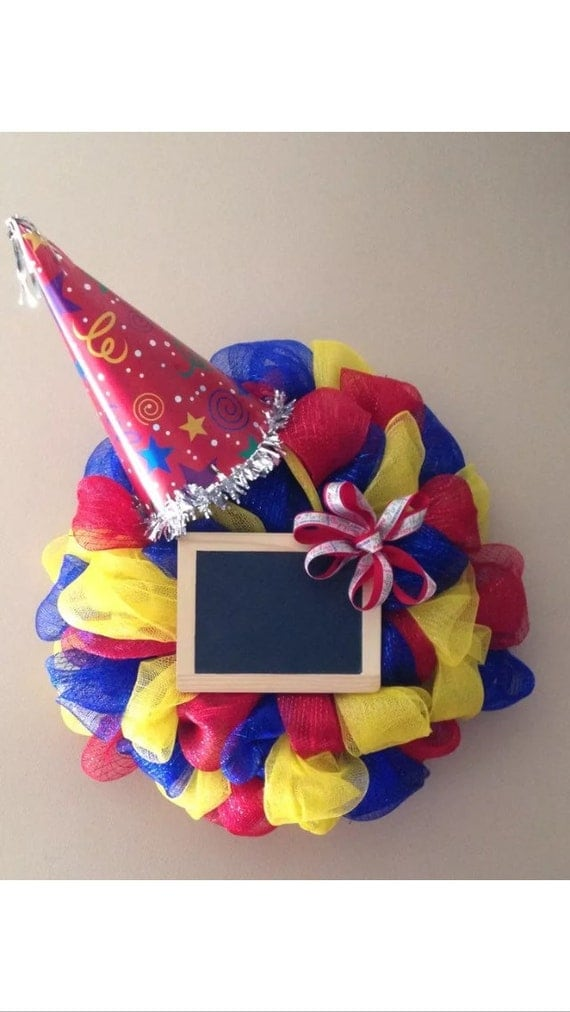 Wall Decorations With Ribbon : Happy birthday deco mesh ribbon door wreath wall decor