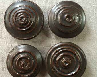 Handmade pottery bronze brown cabinet knobs or cabinet pulls