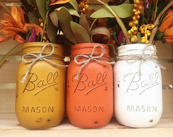 Set of 3 Hand Painted Mason Jars, Autumn, Home Decor, Fall Decor, Centerpiece, Fall Wedding, Thanksgiving, Fall, Shabby Chic, Country Decor