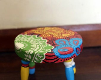 colorful hand painted step stool
