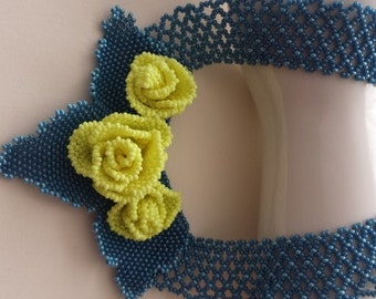 Necklace neon yellow blue-beadwork necklace handmade beaded necklace-neon yellow rose pearl necklace