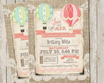 Rustic, Burlap and lace, Hot Air Balloon, Bridal Shower Invitation, Invite, Digital File, Printable, 5x7