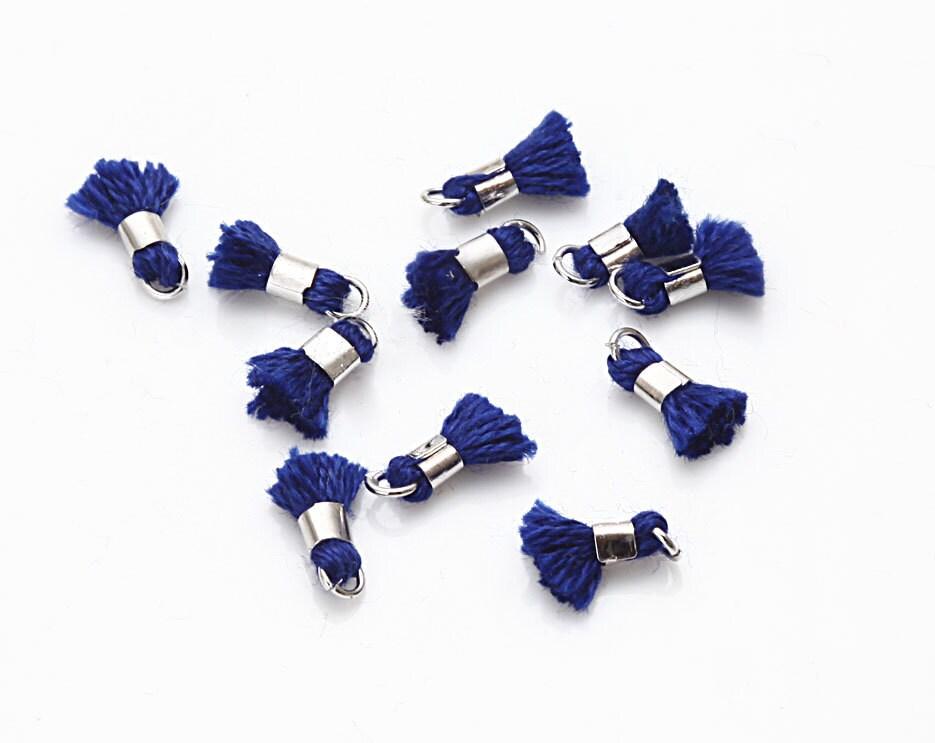 Mini Thread Cobalt Blue Tassel Small Pendant Polished