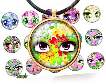 Anime eyes and summer flowers - Digital bottle caps images - 1'' inch circles for Jewelry Making, Digital Collage Sheets, BUY 2 GET 1 FREE