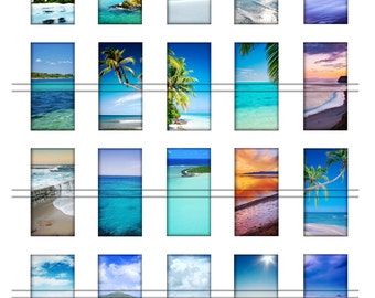 Ocean summer water - 1x2'' domino images, graphics for scrapbooking, stickers, Digital Printable Images File 8,5x11, BUY 2 get 1 FREE