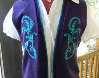 Vintage Sweater Vest School Teacher School Marm Professor Sweater Lovely Librarian Blue Purple Turquoise