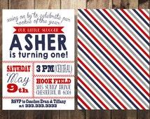 Baseball Birthday Invitation, First Birthday, Boy Birthday, Red, Navy, Little Slugger, Baseball Theme Party, Printable Invites, Double Sided