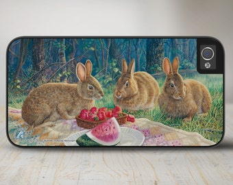 """Bunnies iPhone 5 Case, Bunny Rabbit iPhone 5s Case, Bunny iPhone Cover Protective Bunny Phone Case """"Sunny Bunnies"""" 50-5271"""