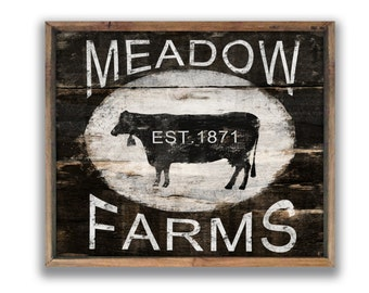 Wooden cow sign Vintage style cow sign farm signs custom signs personalized signs farmhouse decor farmhouse wall art cow wall art cow art