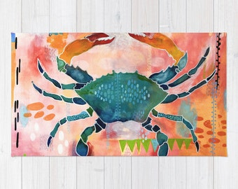 Fun Kitchen Rug with Blue Crab, Multiple Sizes, Great texture