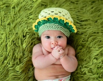 Baby Crown Hat, New Born Girl Beanie Crochet Crown Hat, Baby Princess Hat, 0 to 3 months old, baby girl crown, Newborn Girl Beanie Lemon Cap