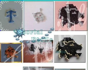 12 zodiac signs brick stitch pattern ( Italian)