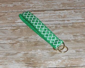 Green Quatrefoil- Green Lattice - Wristlet Key Fob- Key Chain