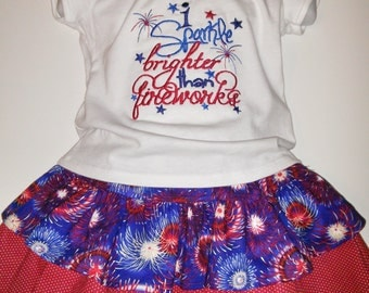 Girls I Sparkle Brighter Than Fireworks 4th Fourth of July Patriotic Boutique Skirt Set Outfit Twirly Skirt Embroidered Shirt! 2 3 4 5 6 7 8