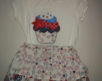 Girls Baby Infant Sister Set 4th Fourth of July Patriotic Cupcake Stars Boutique Skirt Set Outfit Tiered Twirly Skirt Embroidered Shirt! 3 6