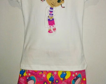 Doc McStuffins Lambie Stuffie Hallie Boutique Birthday Party Shorts Embroidered Shirt TShirt Set Outfit! Toy Doctor Hospital Short Shirt