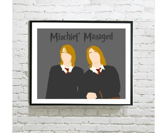 "Harry Potter Digital Art Print - Weasley Twins - Fred and George - Marauders Map - Mischief Managed - Wizard Wheezes - 8""x10"" Print"