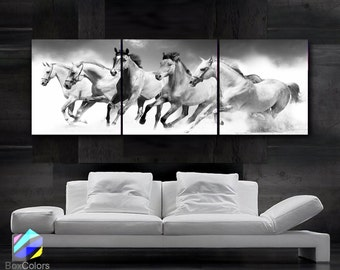 """LARGE 20""""x 60"""" 3 panels Art Canvas Print beautiful Horses Black & White Wall (Included framed 1.5"""" depth)"""