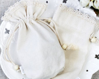 50 Drawstring Bags Linen Cotton Pouches with Lace - Small Bags for Craft, Jewelry, Soap, Accessories, Candy - Wedding Gifts Packaging