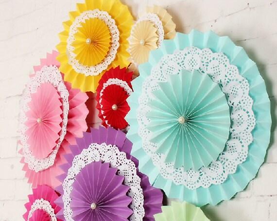 20 pcs set mixte papier fan décoration avec napperon en