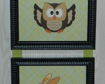 Kids Room Nursery Woodland Animal Owl, Rabbit, Fox Picture Collage Wall Hanging Art 4x6