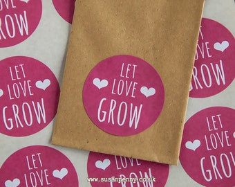 Wedding Favors.... Seed Packet Sticker Let Love Grow Seed Packet Favors Unique Wedding Favor Rustic Wedding 40mm (1 1/2in) Stickers WED15