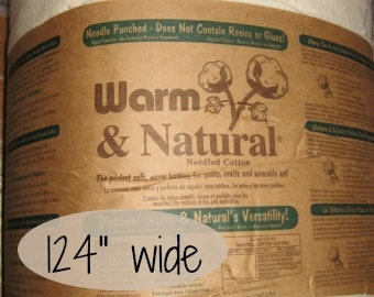 "124"" wide Warm & Natural Cotton Batting, Quilt Batting, Quilting SOLD By The YARD  9503"