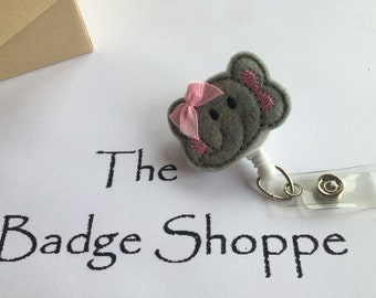 Elephant Face with Pink Bow on a Retractable ID Badge Holder. Elephant Badge Reel. Gifts for hospital staff. Pediatric Badge.